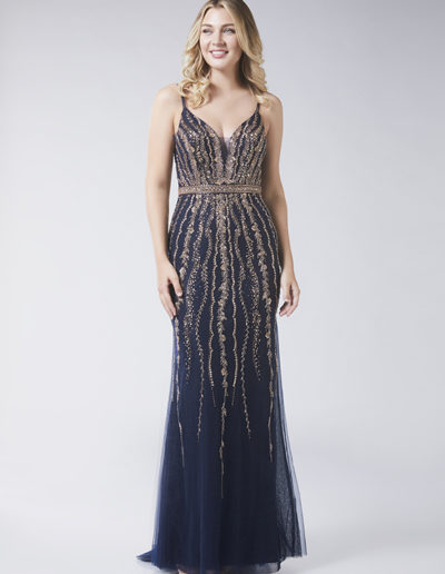 navy gold beaded fitted Prom dress Taunton