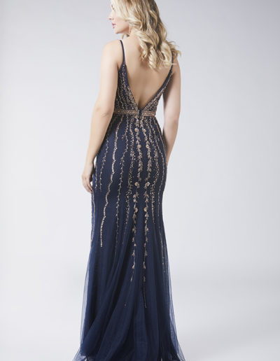 Navy gold beaded Prom dress Taunton