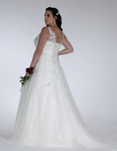 sequin v-neck Bridal gown