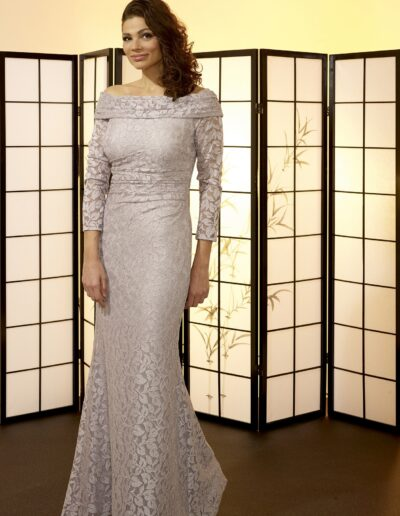 silver lace evening dress sleeves