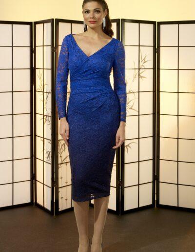 v-neck cobalt blue occasion wear dress
