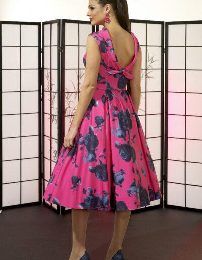 VO6419 PINK NAVY VEROMIA OCCASIONS FIFTIES DRESS