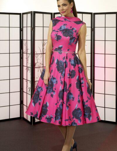 pink tea-length satin print dress