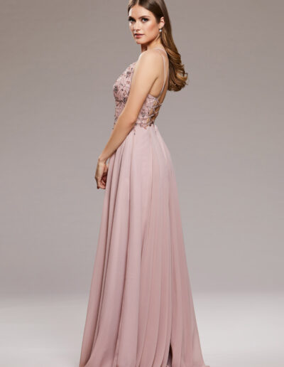 pink strappy backless Prom dress