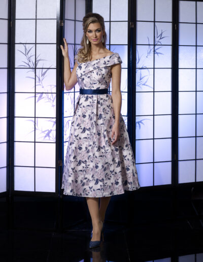 VO4987 NAVY PINK VEROMIA OCCASIONS FLORAL DRESS