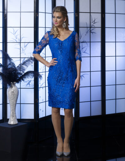 blue lace occasion wear dress sleeves