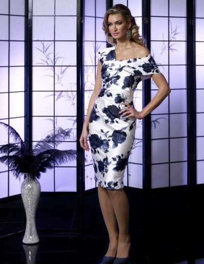 blue white print fitted occasion wear dress