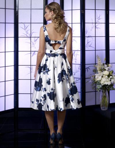 blue white print tea length occasion wear dress