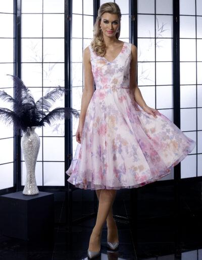 tea length floral occasionwear dress
