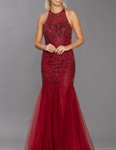wine prom dress halter fishtail