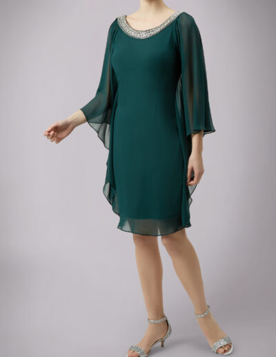 cocktail dress with batwing sleeves