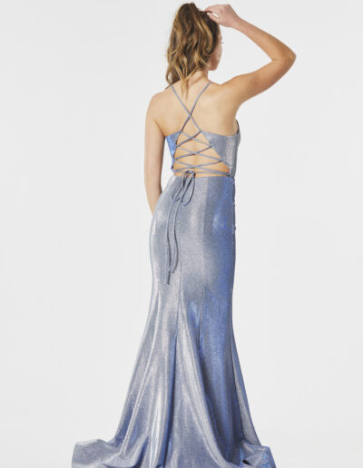 low back strappy silver blue Prom dress Taunton