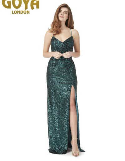 Strappy low back sequin Prom dress