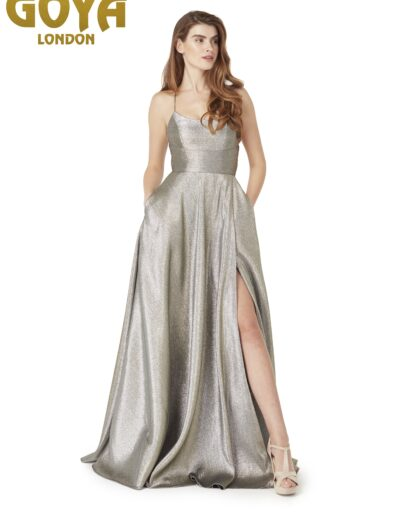 Strappy low back silver Prom dress