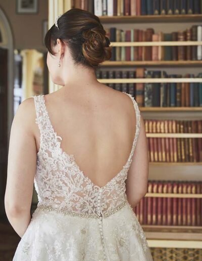 lace bridal gown sheer back