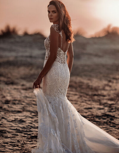 Lace fishtail gown sheer bodice long train