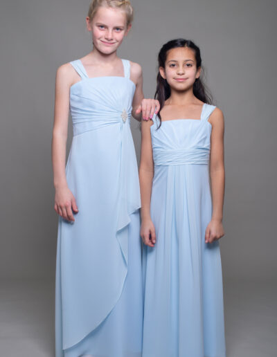 teenage bridesmaid dress in pale blue chiffon
