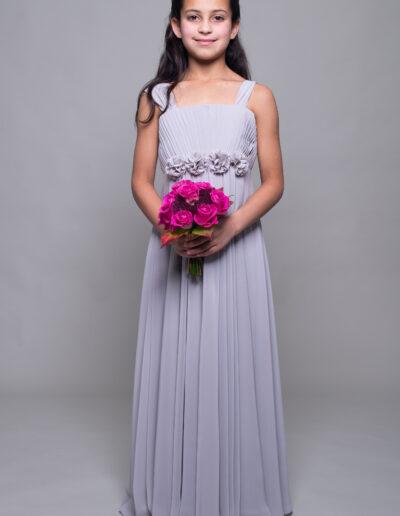 teenage bridesmaid dress in silver grey chiffon