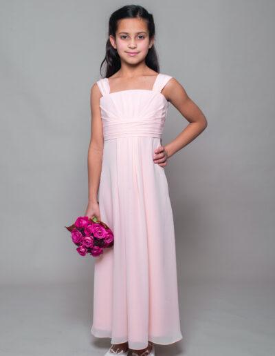 teenage bridesmaid dress in pale pink chiffon