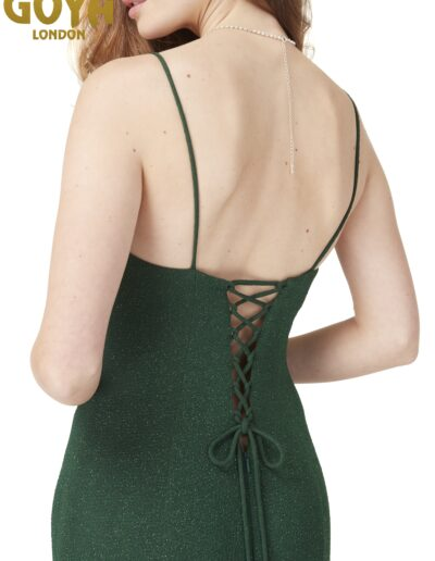 Prom dress straps lace up back fitted dark green
