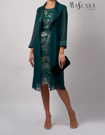 Mother of the bride groom chiffon coat lace dress dark green