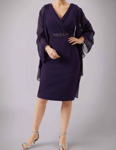Mother of the bride groom dark purple chiffon coat jacket V neck dress