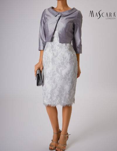 Mother of the bride groom silver jacket lace dress sleeves