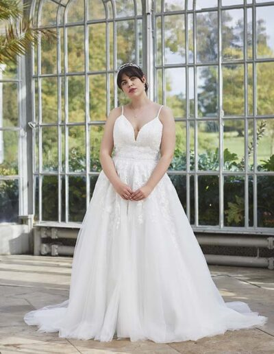 Wedding dress straps A-line lace V-neck